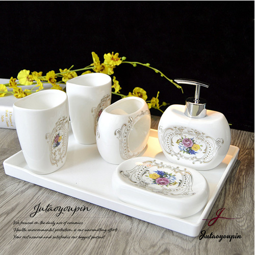 5 Pc Ceramic Bathroom Set