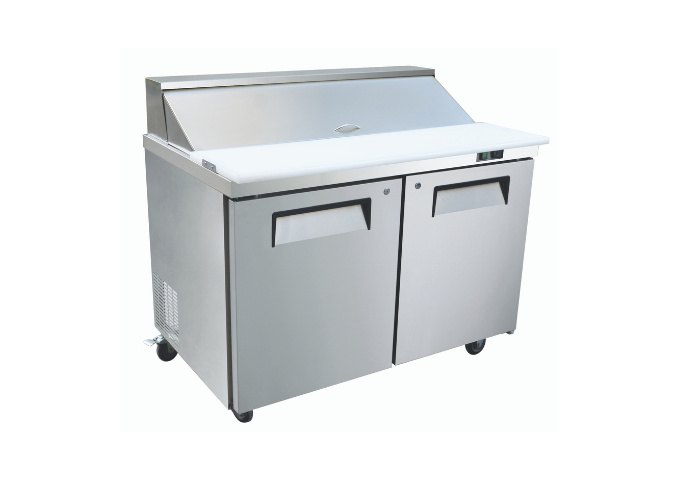 "Manotick KSR-48B 48"" 2 Door Refrigerated Sandwich Prep Table | White Stone"