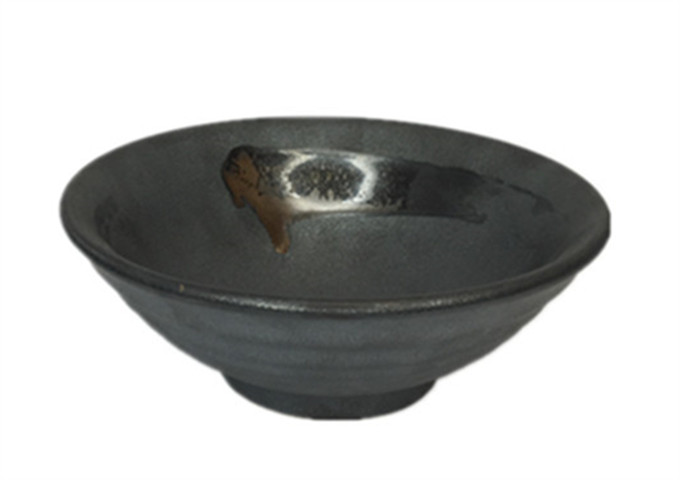 10'' Ceramic Grey Ramen Bowl | White Stone