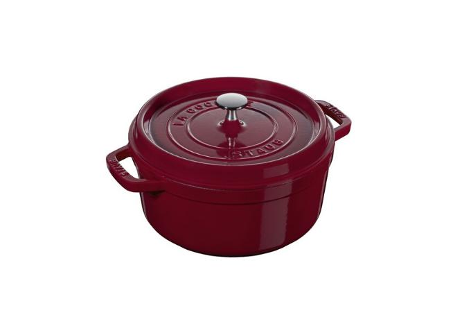 STAUB Cast Iron Round Cocotte – Bordeaux Red – 5.5 Qt. / 5.2L | White Stone