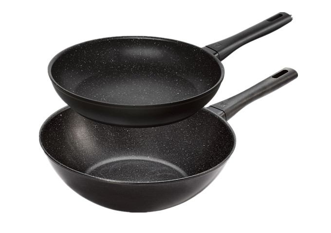 2 PIECE FRYING PAN & WOK SET | White Stone