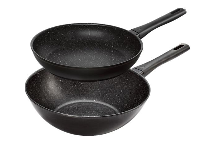 2 PIECE FRYING PAN & WOK SET | White Stone