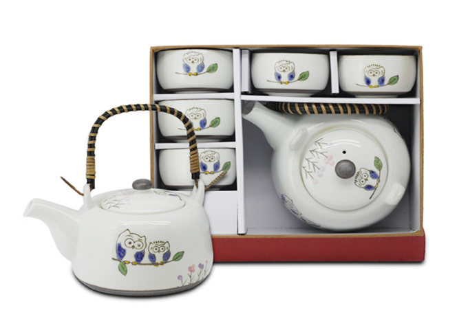"EMF 6-pc ""Owl"" Porcelain Tea Set with Strainer in Gift Box 