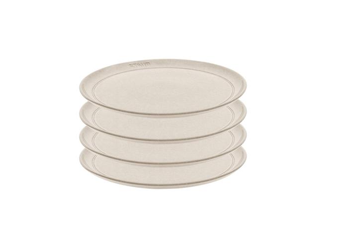 Staub Ceramic White Truffle – 4PC Plate Set 6″/15cm   White Stone