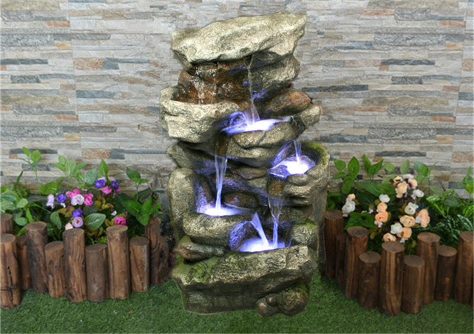 Poly-Resin Rainfall Water Fountain | White Stone