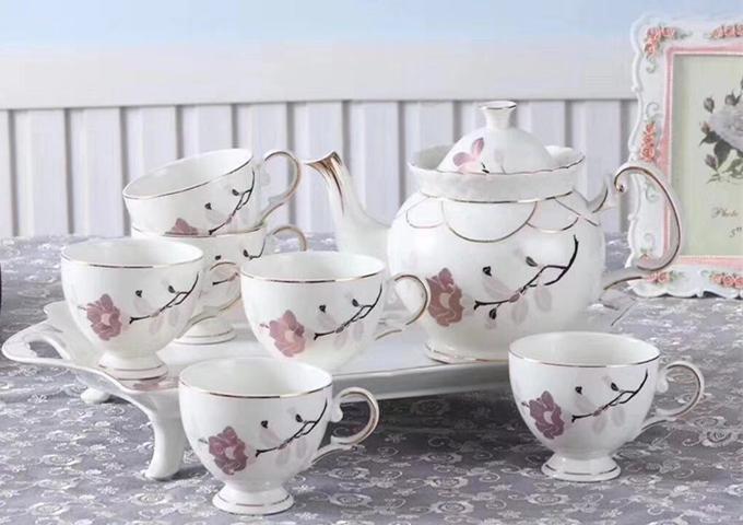 Ceramic Fashion Tea Set, 8 pcs | White Stone