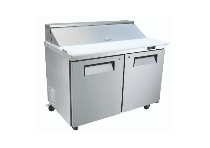 "Manotick MT-KSR-60B 60"" 2 Door Refrigerated Sandwich Prep Table | White Stone"
