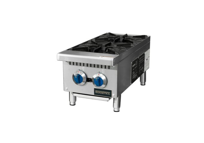 Manotick MT-HP12-M 12'' 2 Burner Gas Hot Plate-50,000 BTU | White Stone