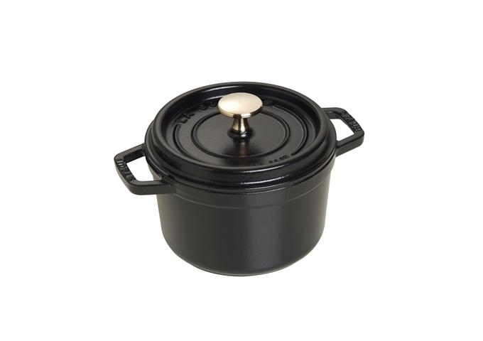 Staub Cast Iron Round Cocotte – Black -- 1.25 qt. / 1.2 L | White Stone