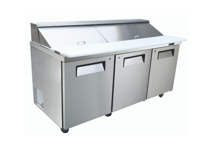"Manotick KSR-72B 72"" 3 Door Refrigerated Sandwich Prep Table | White Stone"