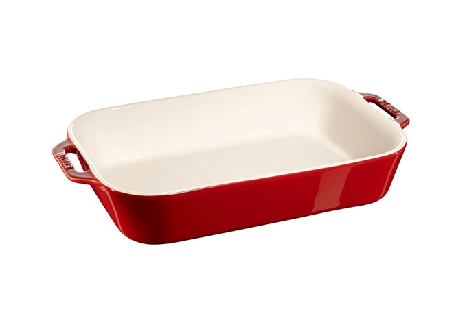 Staub Ceramic Rectangular Dish 13″ X 9″ / 34 X 24 cm - Cherry Red | White Stone