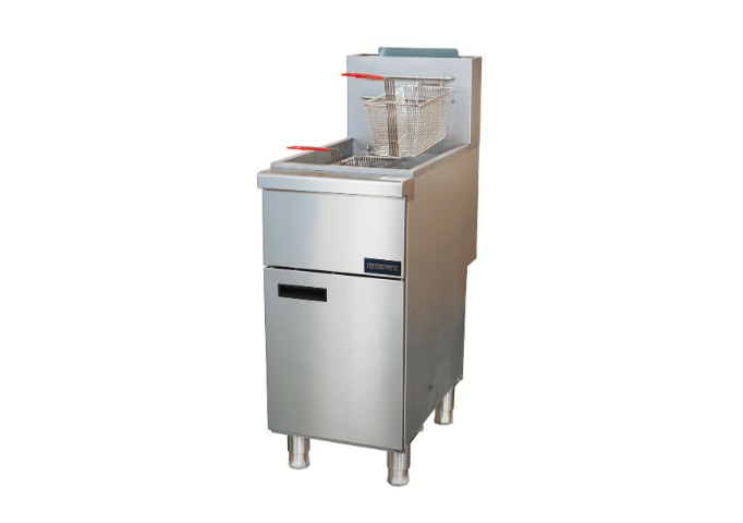 Manotick MT-F3-NG Gas 35-40 lb. Stainless Steel Floor Fryer-90,000 BTU | White Stone