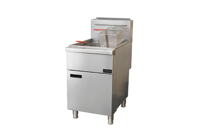 Manotick MT-F5-NG Gas 75-80 lb. Stainless Steel Floor Fryer-150,000 BTU | White Stone