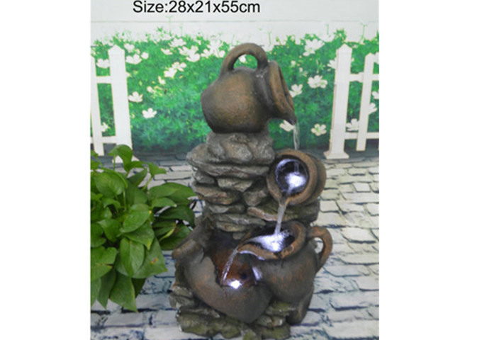 Multi Pots Outdoor Water Fountain | White Stone