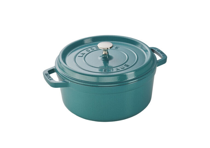 Staub Cast Iron 4-qt Round Cocotte - Turquoise | White Stone