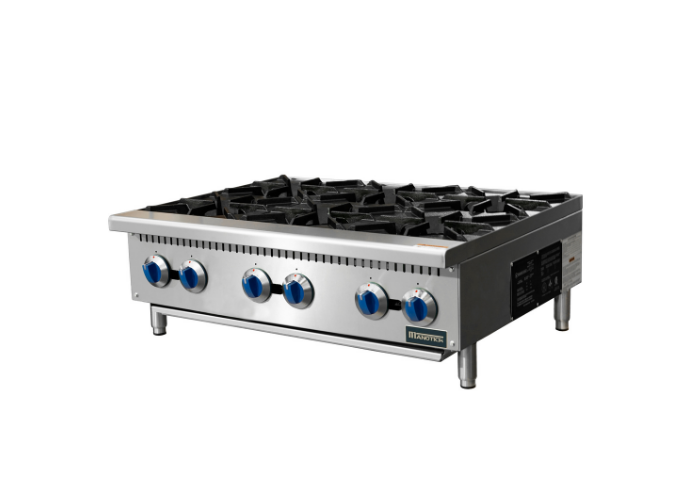 Manotick MT-HP36-M 36'' 6 Burner Gas Hot Plate-150,000 BTU | White Stone