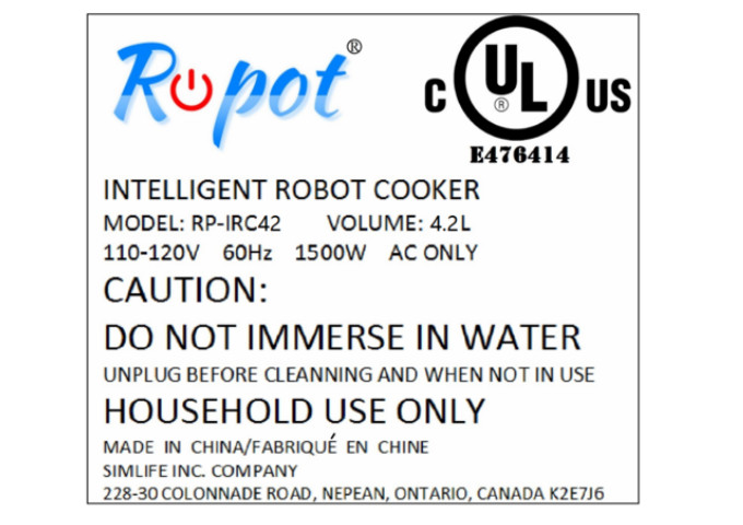 Ropot The Intelligent Robot Cooker, Black | White Stone